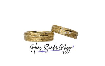 Geel goud organische trouwringen Hans Sandor Nagy