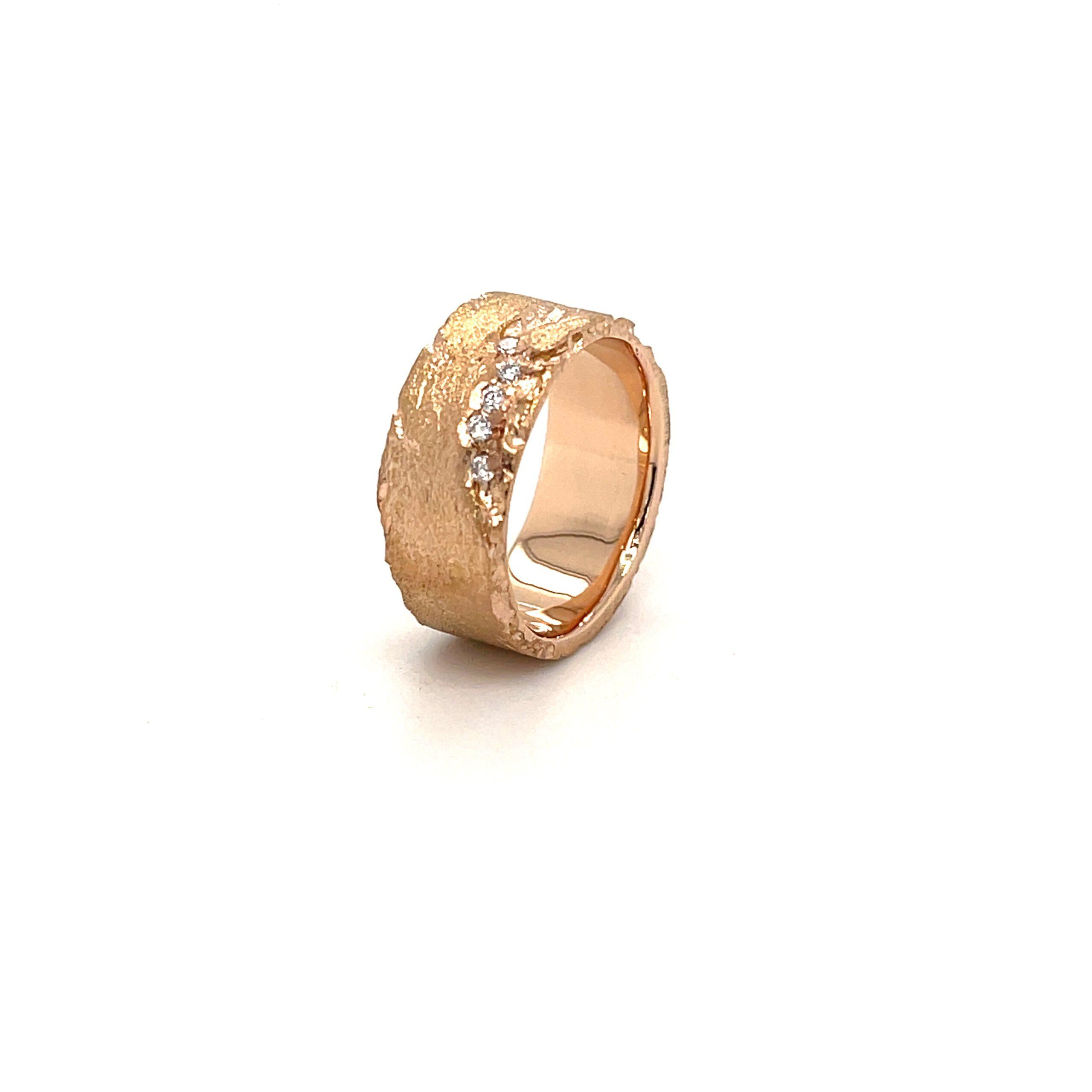 textuur ring ruw roze goud